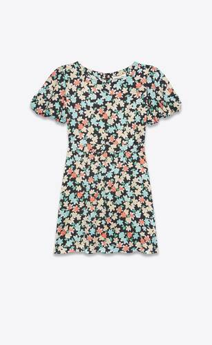 balloon-sleeve dress in floral silk