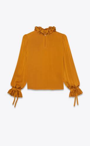 frilled blouse in silk satin charmeuse