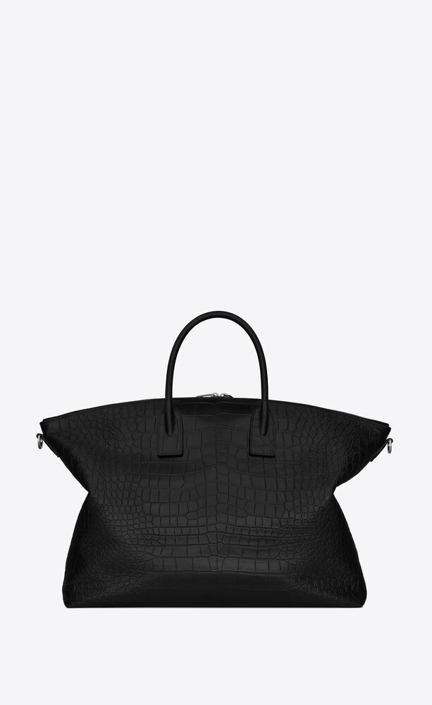 giant bowling bag in crocodile-embossed leather