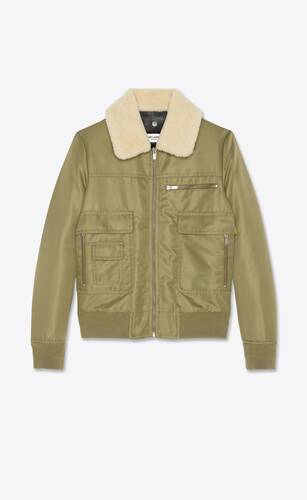 aviator bomber jacket in nylon with shearling collar