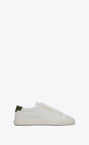 andy sneakers in perforated leather and python-embossed leather