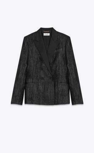 double-breasted tuxedo jacket in pleated lamé crepe