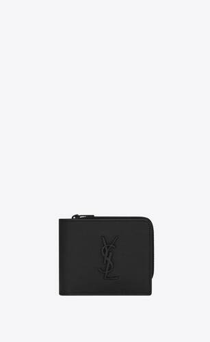 monogram east/west zip wallet in grain de poudre embossed leather