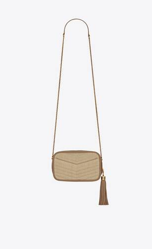 lou mini bag in linen canvas and leather