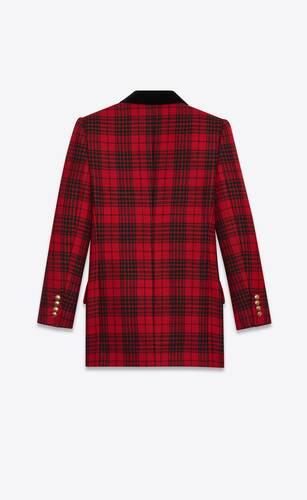 프린스 오브 웨일즈 타탄 울 소재의 더블 브레스트 재킷