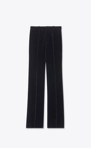 pantalon évasé taille basse à plis en velours