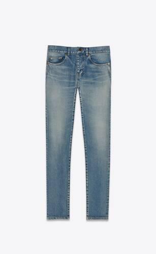 cropped skinny-fit jeans in santa monica blue stretch denim
