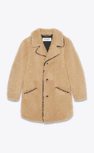 long coat in shearling
