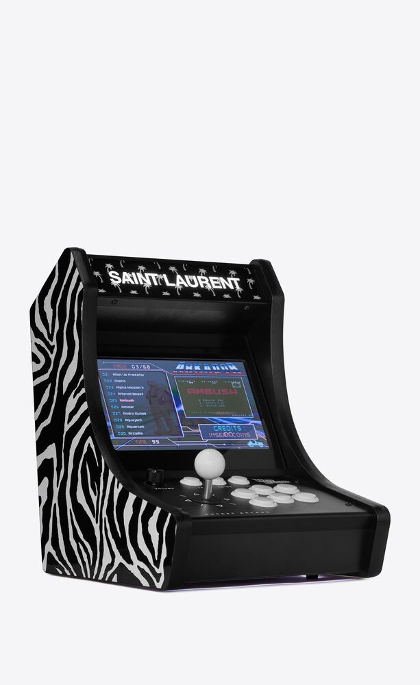 neo legend retro arcade machine with palm trees and a zebra pattern