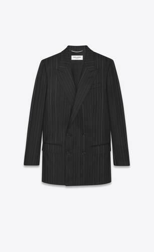 double-breasted coat in asymmetric striped wool