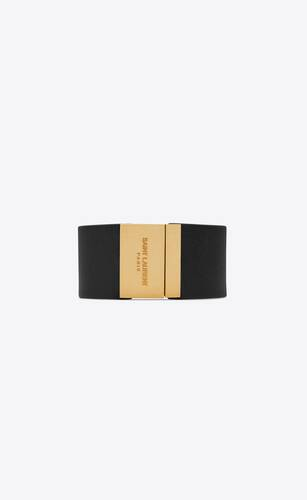 saint laurent id bracelet in leather and metal