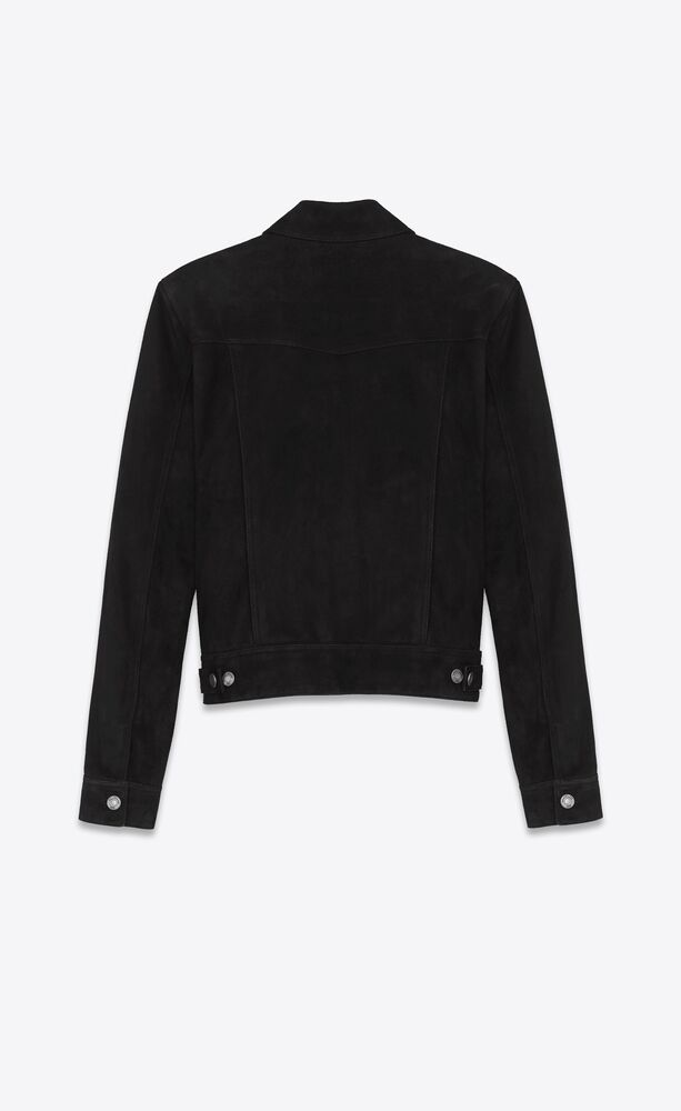 jeans-style buttoned jacket in black suede