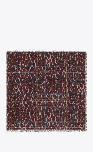 leopard-print lamé check bandana in wool and silk jacquard