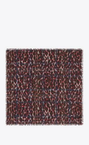 halstuch aus woll- und seidenjacquard mit leoparden-print und lamé-karomuster