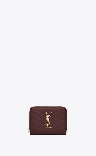 monogram compact zip around wallet in grain de poudre embossed leather