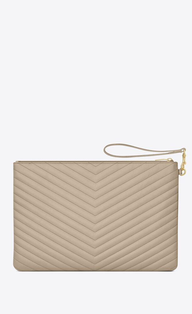 monogram document holder in quilted leather