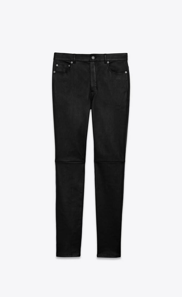 high-rise skinny pants in grained stretch leather
