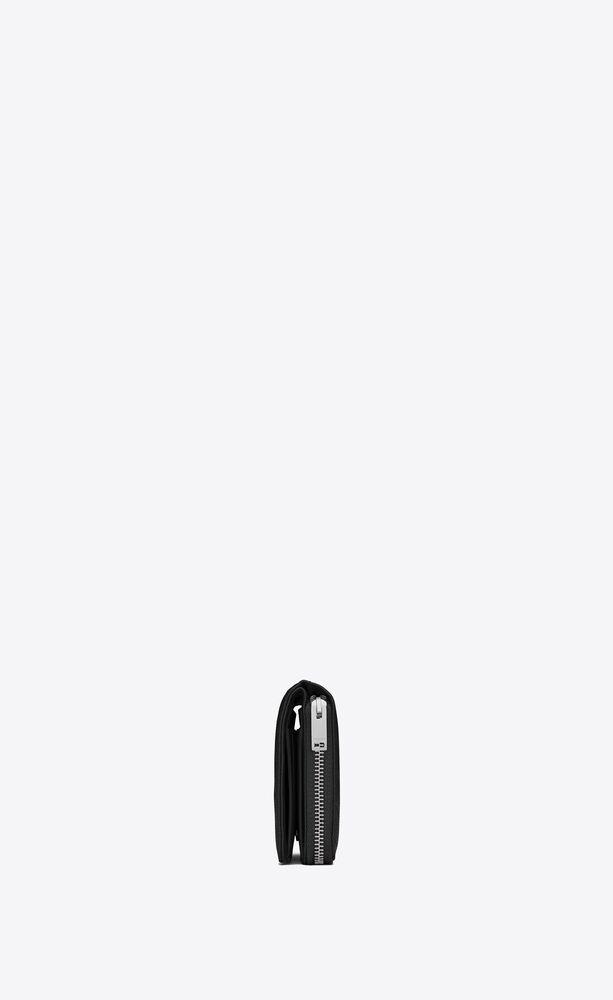 モノグラム・サンローラン コンパクト フルジップウォレット(ブラック/グレインパウダーテクスチャード レザー)