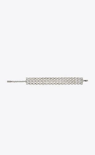 three-strand crystal bracelet in metal