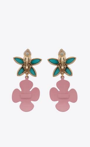 boucles d'oreilles fleurs en métal et émail