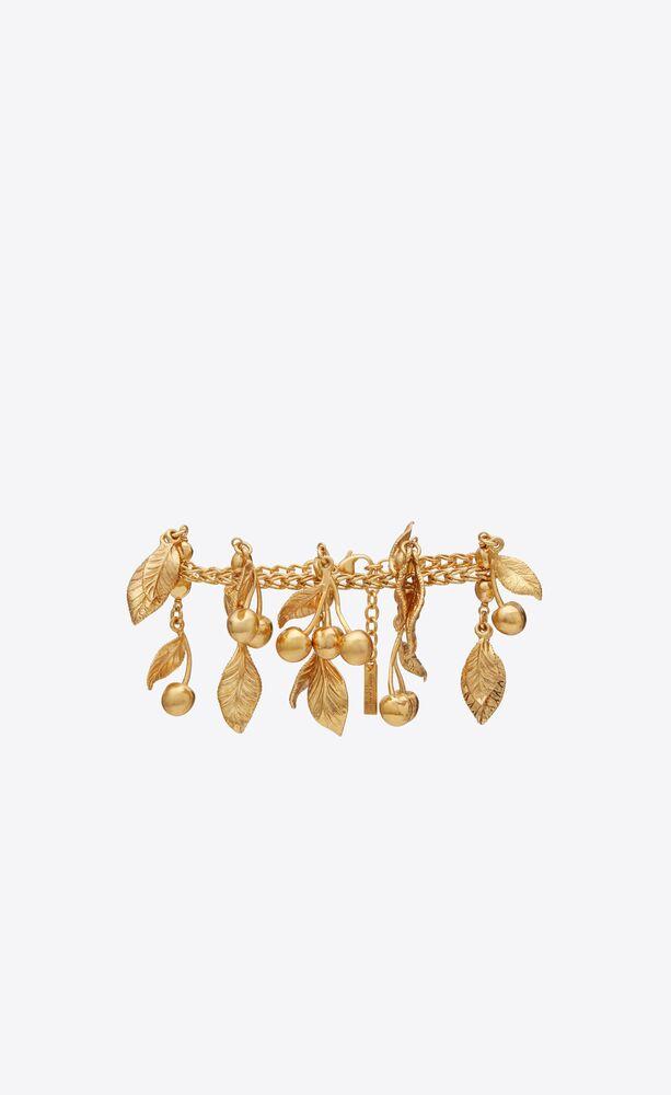 cherries & leaves charm bracelet in metal