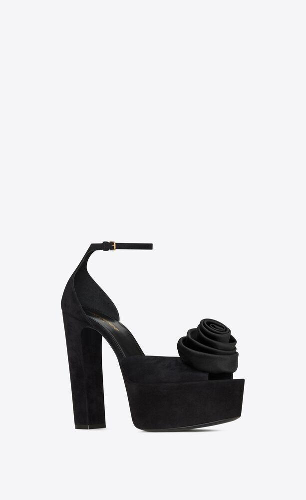 jodie platform sandals in suede with silk satin flower