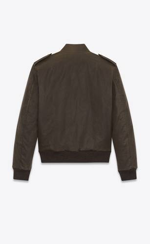 bomber jacket in waxed cotton canvas