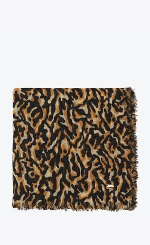 camo-print bandana in wool twill