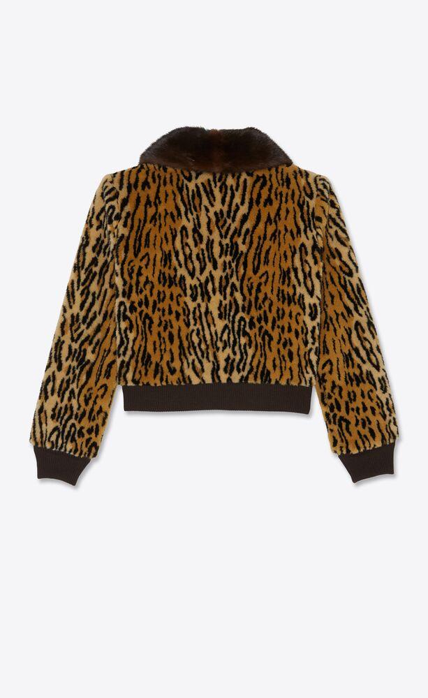 ocelot-print teddy jacket in faux fur and mink
