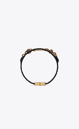 bracelet en cuir tressé orné d'un détail nœud