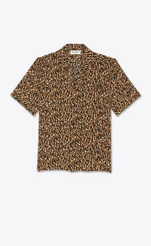 leopard-print camouflage shark-collar shirt