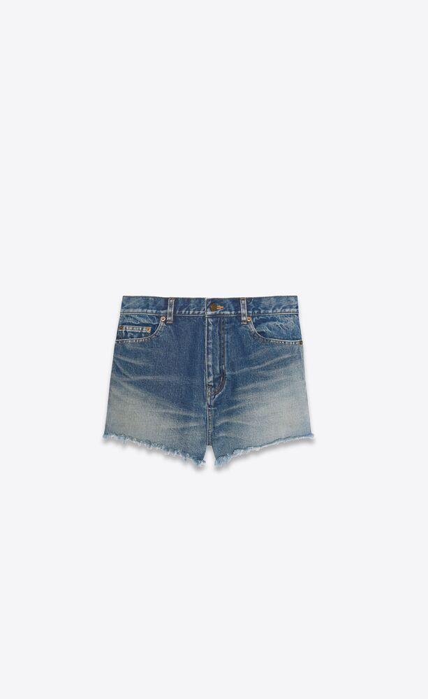 raw-edge shorts in star light blue denim