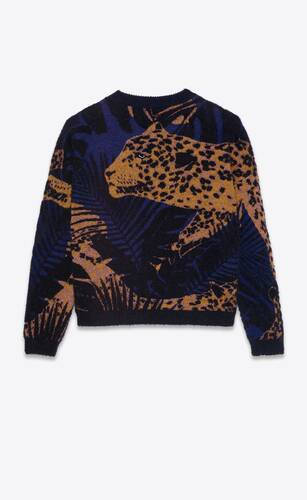 knit sweater in lamé jungle leopard jacquard