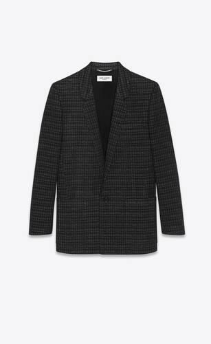 jacket in lamé grid wool tweed