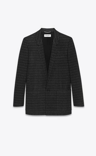 jacket in lamé grid wool tweed