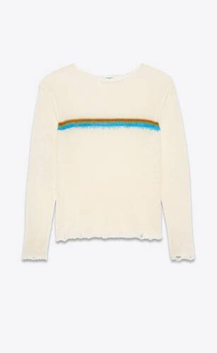 destroyed knit stripe sweater in linen and brushed mohair