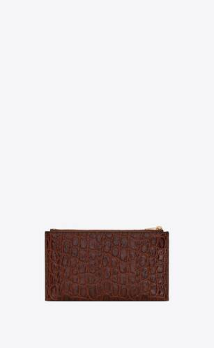 monogram bill pouch in crocodile-embossed leather