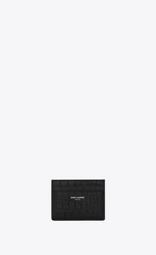 porte-cartes en cuir embossé crocodile