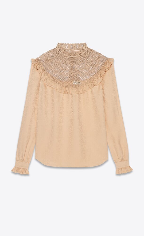 embroidered blouse in matte and shiny silk