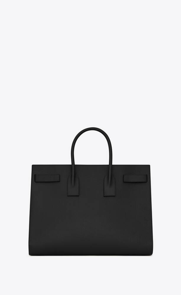 large sac de jour carry all bag in black grained leather