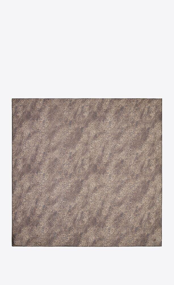 leopard-print large square scarf in silk muslin