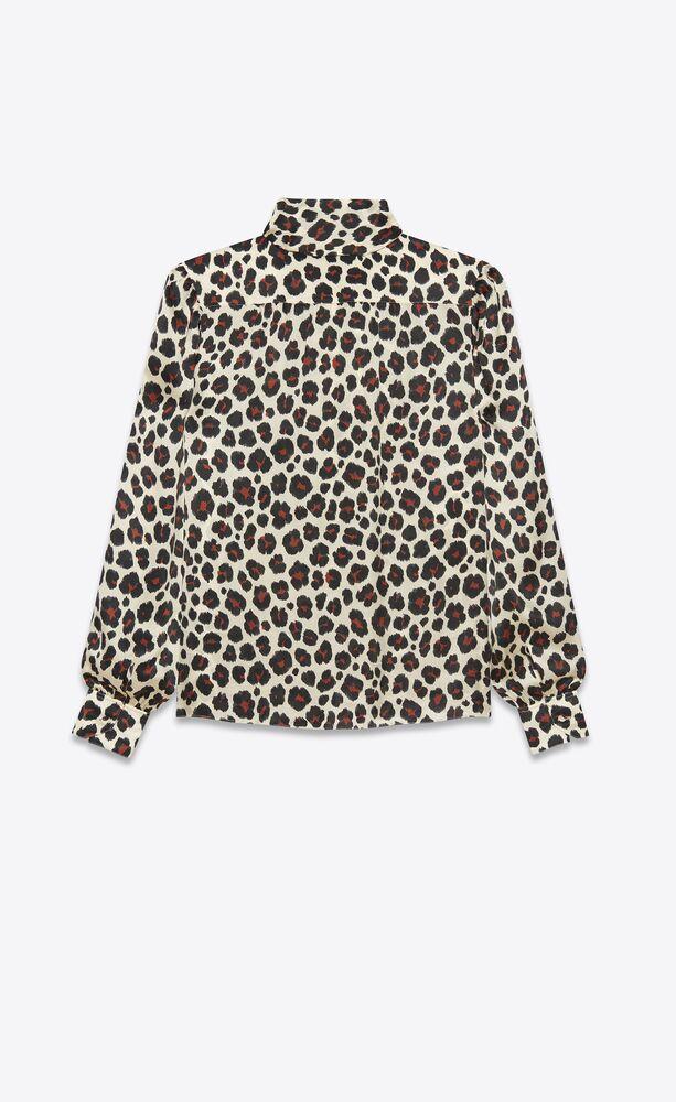 bluse mit lavallière-ausschnitt aus seiden-musselin mit leoparden-print