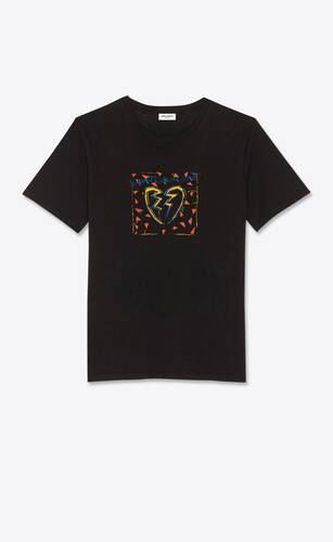 """saint laurent"" broken heart jacquard t-shirt"