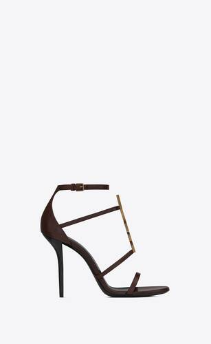cassandra sandals in smooth leather with gold-tone monogram
