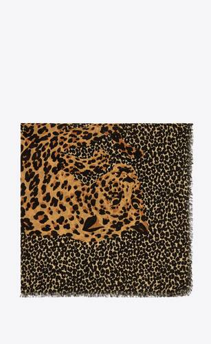 gran carré saint laurent de twill de lana con estampado leopardo