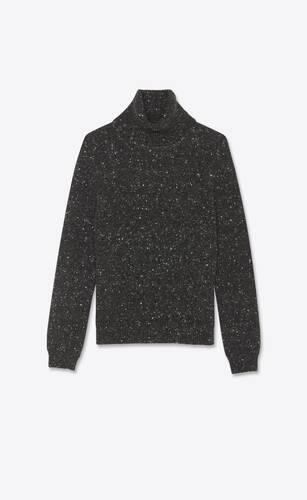 pullover dolcevita in lana e cashmere effetto screziato
