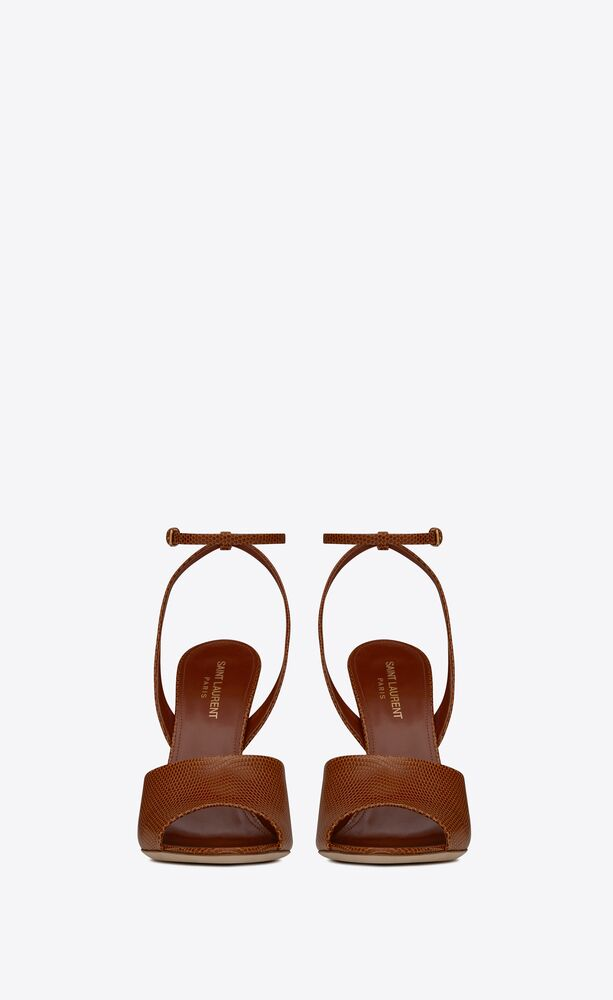 scandale sandals in lizard-embossed shiny leather
