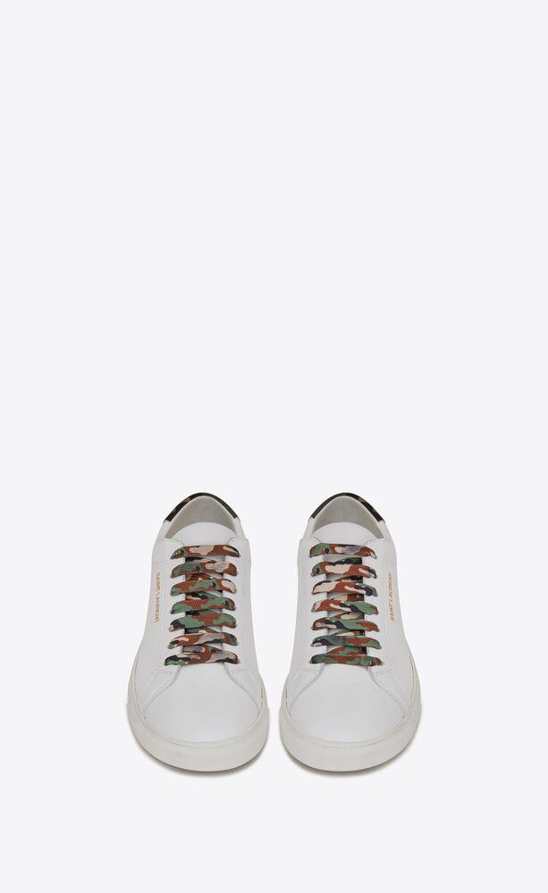 andy sneakers en cuir lisse et toile imprimé camouflage