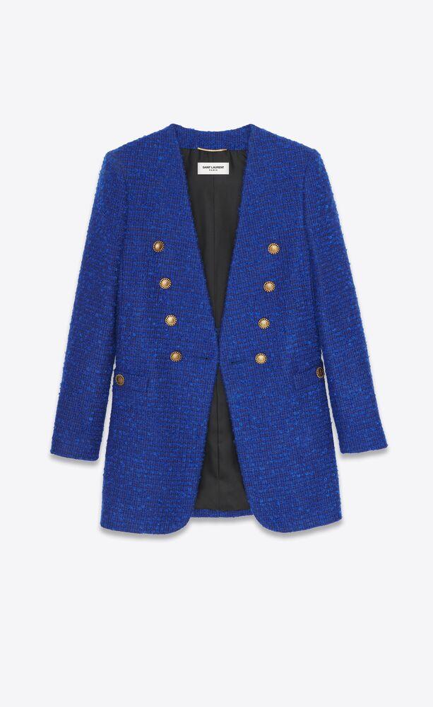 veste longue à double-boutonnage en tweed bouclé