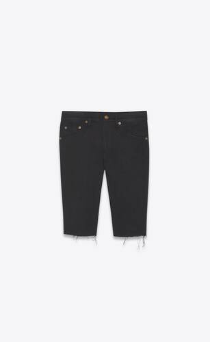 cycling shorts in used black denim